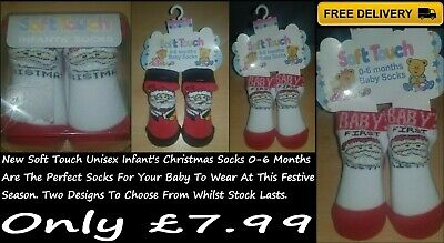 New Soft Touch Infant's Christmas Unisex Gift Box Socks 0-6 Months In 2 Designs • 6.99£