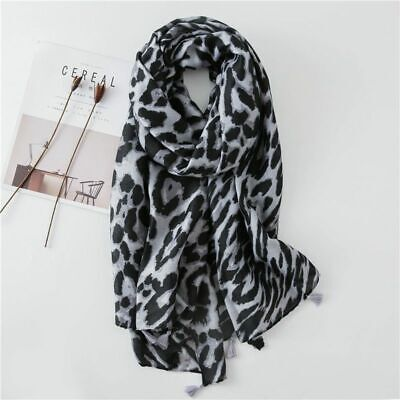 $11.47 • Buy Autumn Winter Fashionable Scarf Silk Feeling Cotton Leopard Prints Bandana Shawl