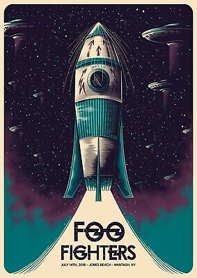 Reproduction  Foo Fighters - Jones Beach ,  Poster, Grunge, Size A4 • 9.50£