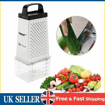 £6.59 • Buy 4 Sided Stainless Steel Grater For Cheese Vegetables Ginger With Container Box
