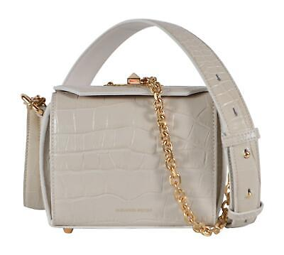 AU752.37 • Buy New Alexander McQueen Cream Croc Embossed Leather Box 16 Bag Crossbody Purse