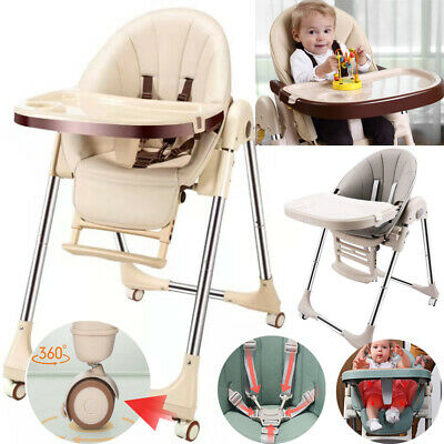 Baby Foldable High Chair Recline Feeding Highchair Adjustable Seat Table 5 In 1 • 66.95£