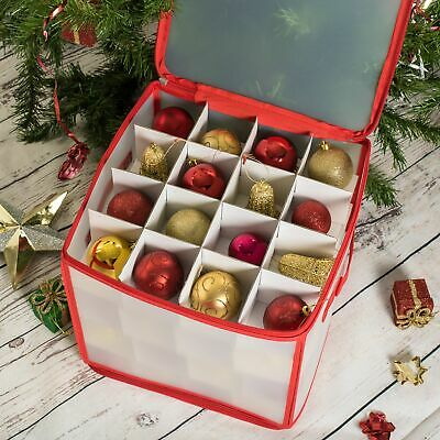 64 Bauble Storage Box With Set Of 64 Baubles Christmas Tree Decoration Organiser • 8.99£