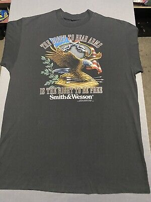 $ CDN107.23 • Buy VTG 1992 3D Emblem Smith & Wesson T-Shirt Large XL USA Flag Bald Eagle Crest