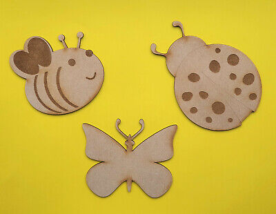 Wooden Insect Craft Shapes Decoration Bee Butterfly Ladybird MDF Wall Hanging • 2.10£