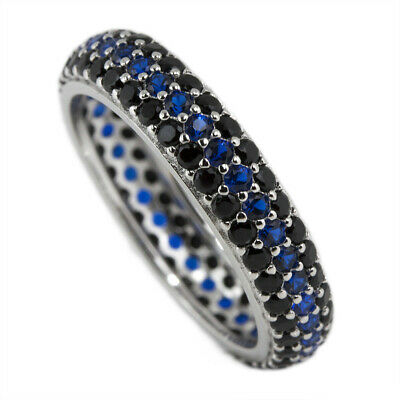 £21.78 • Buy Thin Blue Line Eternity Ring Pave Black Blue CZ Sterling Silver Women Size 5-10