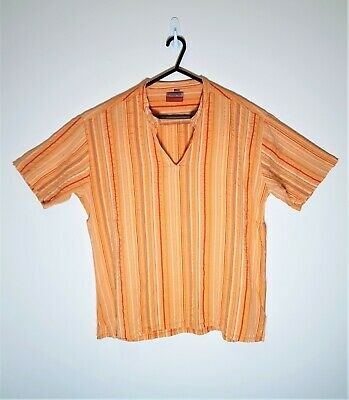 Men's EVOLUTION 100% Cotton Orange Striped Tunic Shirt Tee Open V-Neck Sz XL • 9.99£