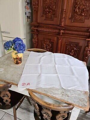 Very Large French Linen Hand Towel/tablecloth With Large Monogram  • 15£