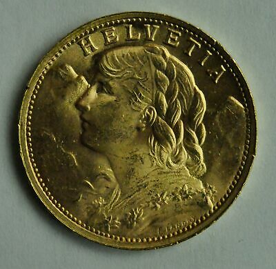 $545 • Buy 1935 Swiss Helvetia 20 Franc Gold Coin