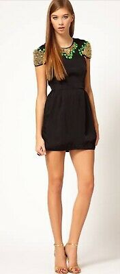 AU45 • Buy ALICE McCALL Size 8-10 Black Embellished Break The Bank Mini Dress