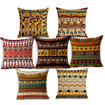 18x18 Inches Ethnic African Series Throw Pillow Case Linen Fabric Cushion Covers • 3.36£