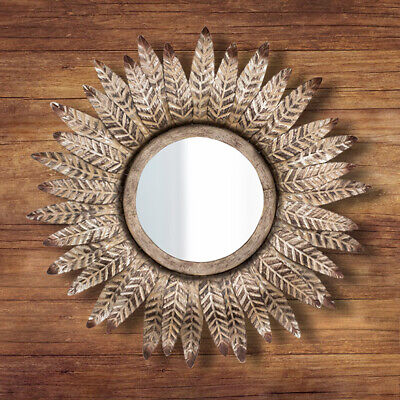 Antique Bronze Mirror Round Wall Mounted Vintage Feathered Decorative Ornate Art • 15.99£