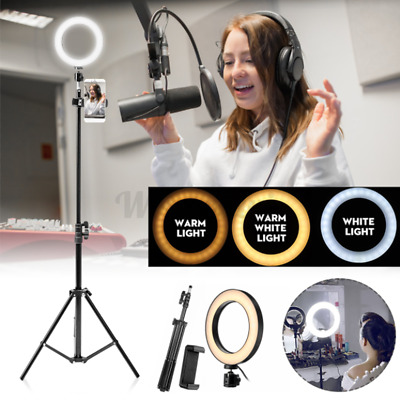 LED Selfie Flash Ring Light + Mobile Phone Holder + 1.6M Tripod Kit For Phone UK • 22.45£