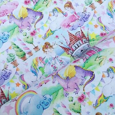Fairytale Castle Princess Dragon Unicorn Pretty 100% COTTON FABRIC X HALF METRE • 6.50£