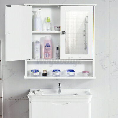 White Bathroom Cabinet Wall Mounted Mirrored Double Door Storage Cupboard Shelf • 29.91£