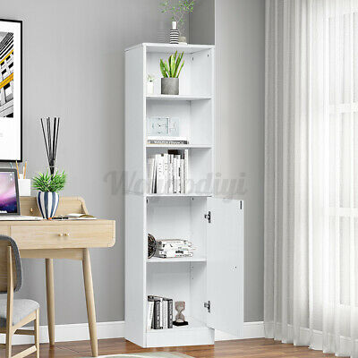 £55.99 • Buy White Bathroom Cabinet Tall Cupboard 1 Door 5 Shelves Unit Storage Home Bookcase