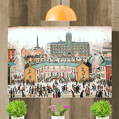 LS Lowry VE Day Victory In Europe Canvas Wall Art Print Artwork Painting Framed • 29.98£