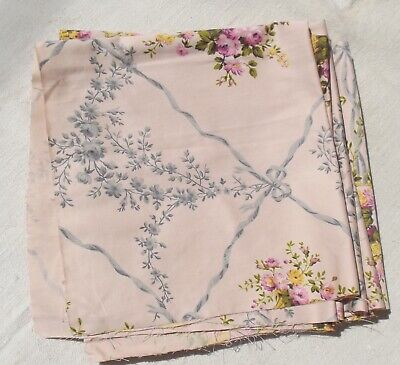 Vintage French Fabric Pink Satin  Baskets Of Flowers Ribbons And Bows • 18£