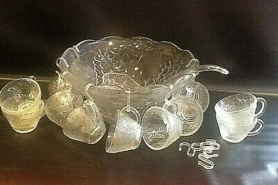 Vintage Romance Glass Punch Bowl & 12 Glass Cups & Hooks And Ladle  • 29.95£