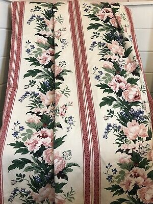 """£25 • Buy Lovely Vintage Curtains Cotton Montgomery Ischia Striped Floral Pattern 51 X 78"""""""
