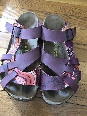 38 ~7 Papillio Birkenstock Women  Leather Slip On Flat Open Toe Slide • 32.56£