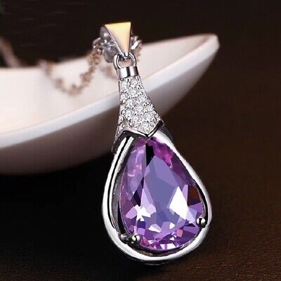 Purple Crystal Pendant Chain Necklace 925 Sterling Silver Womens Jewellery Gift • 3.49£