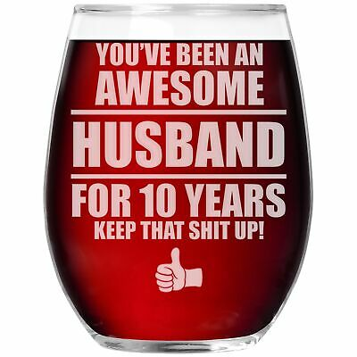 10th Wedding Anniversary Wine Glass Cup 10 Year Gift For Husband Men Him G-70A • 12.91£