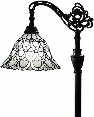 Tiffany Style Floor Lamp Arched 62  Tall Stained Glass White & Mahogany Peacock  • 140.74£