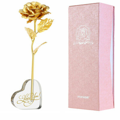 Romantic 24K Gold Galaxy Rose Flower Valentines Day Gift Crystal Rose With Box • 9.59£