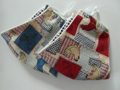 £4.95 • Buy Cute Chicken Printed 100% Cotton Face Mask/ Hand~made In England, Red Or Blue
