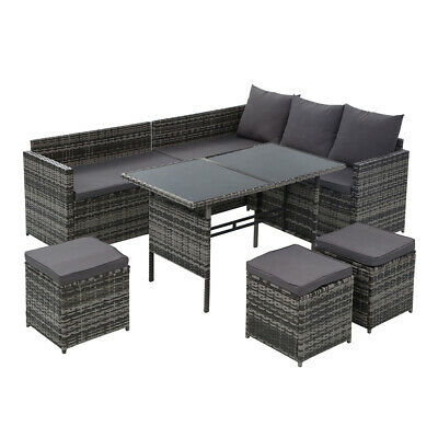 AU772.99 • Buy Gardeon Outdoor Furniture Dining Setting Sofa 9 Seater Storage Cover Mixed Grey