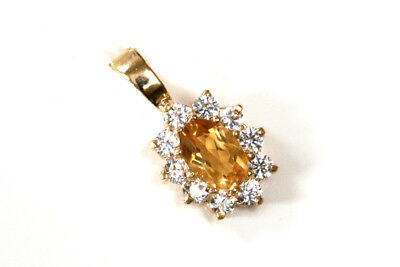 9ct Gold Citrine Pendant Heart Necklace no chain Gift Made in UK Gift Boxed