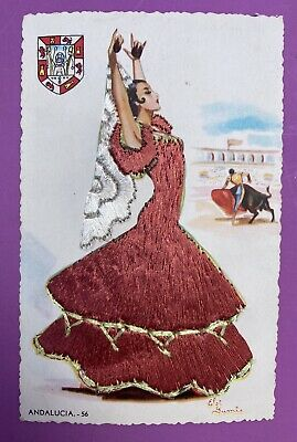 £9.99 • Buy VTG Spanish Lady Embroidered Postcard Elsi Gumier Andalucia Flamenco Bull Fight
