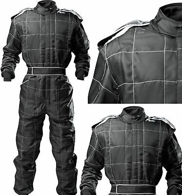 ADULT BLACK Race Suit Overall Single Layer SFI3.2A/1 Proban Oval Banger  • 78.14£