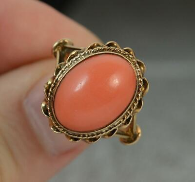 Vintage Large Coral And 9 Carat Gold Solitaire Ring F0583 • 275£