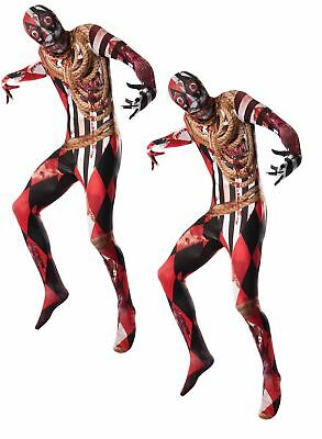Mens Acrobat Costume Circus Showman Zombie Halloween Bodysuit Fancy Dress • 11.99£