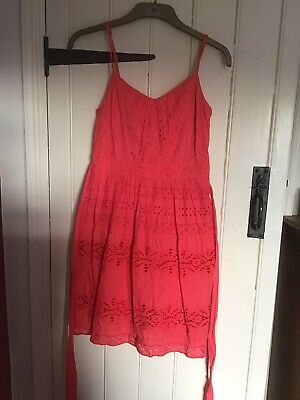 £12 • Buy Monsoon Size 8 Beautiful Coral Pink Lace Broderie Anglaise Floral Dress