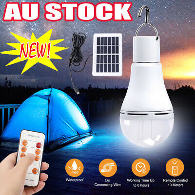 AU22.35 • Buy 9W LED Shed Solar Camping Light Outdoor Lamp Tent Lantern Bulb + Remote Control