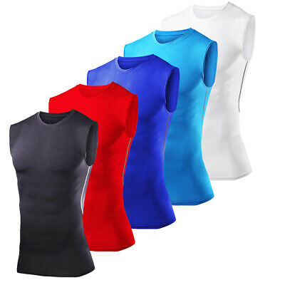 Mens Armour Compression Base Layer Tops Sleeveless Vest Gym Sports Shirt T-Shirt • 5.99£