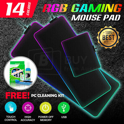 AU18.95 • Buy LED Gaming Mouse Pad Large RGB Extended Mousepad Keyboard Desk Anti-slip Mat