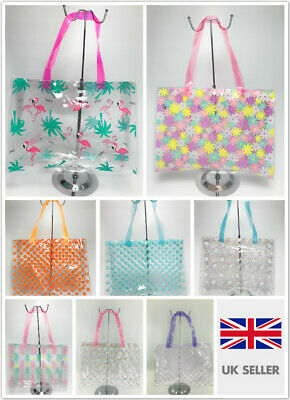 Women Clear PVC Waterproof Swimming School Summer Beach Shopper Tote Holiday Bag • 3.99£