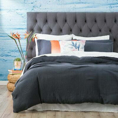 $ CDN85.59 • Buy Renee Taylor Solana Washed Cotton Textured Quilt Cover Set - Blue