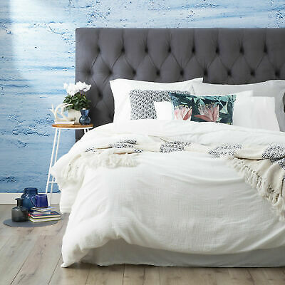 $ CDN106.99 • Buy Renee Taylor Solana Washed Cotton Textured Quilt Cover Set -White