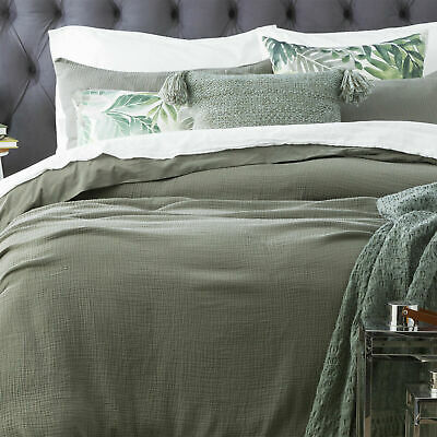 $ CDN106.99 • Buy Renee Taylor Solana Washed Cotton Textured Quilt Cover Set-Fern