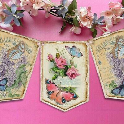 Shabby Chic Butterfly Bunting Hanging Decoration Flags Tea Party Floral Roses • 5.99£