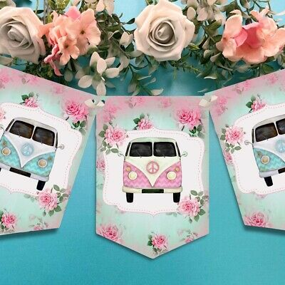 £6.49 • Buy Shabby Chic Floral Campervan Bunting, Camper Van Banner, Wedding, Birthday Party