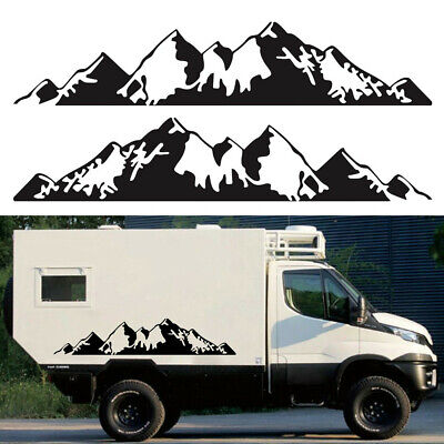 $17.90 • Buy Universal 1Pair Black Mountain Graphic Stickers Fit For Car Body 2-Side Doors