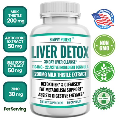 $19.99 • Buy Liver Detox Cleanse Support W Milk Thistle 22 Ingredient Liver Health Supplement