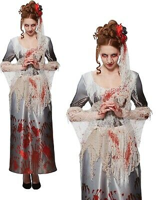 Bloody Hands Dress Ladies Zombie Bride Halloween Fancy Dress Costume • 9.99£