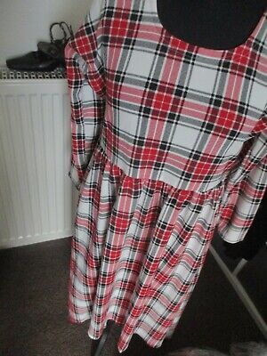 Ladies Red Mix Checked High-low Maxi Dress, Suit Size 16, Exc-con • 7.99£